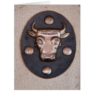 Vintage metal bull head card