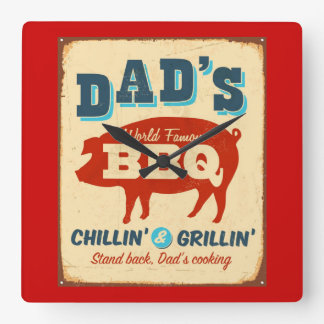 Vintage metal sign - Dad's BBQ Square Wall Clock