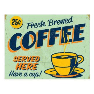 Vintage metal sign - Fresh Brewed Coffee Postcard