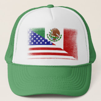Vintage Mexican American Grunge Flag Trucker Hat