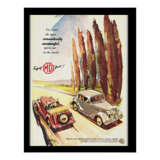 Vintage MG Cars Transport Poster print