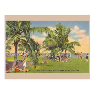 Vintage Miami Beach Florida Sunbathing Post Card
