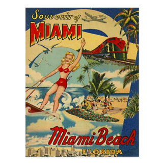 Vintage Miami Beach, Florida, USA - Postcard