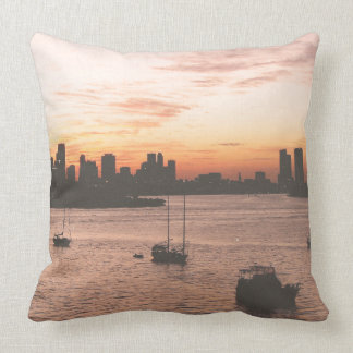 Vintage Miami Skyline Throw Pillow