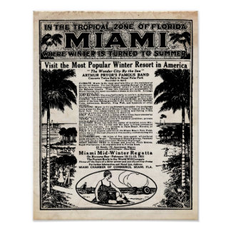 Vintage Miami Travel Ad Print