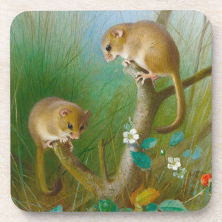 Vintage Mice in a Grassy Flower Garden Coaster