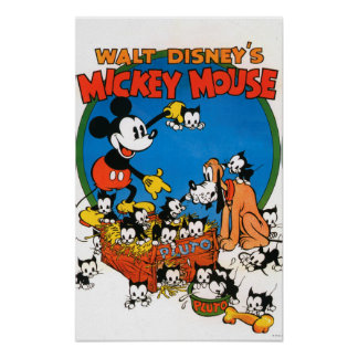Vintage Mickey and Pluto Poster