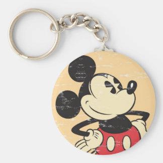 Vintage Mickey Basic Round Button Keychain