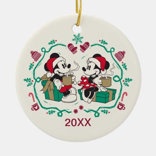 Vintage Mickey & Minnie | Cozy Christmas Ceramic Ornament