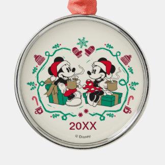Vintage Mickey & Minnie | Cozy Christmas Metal Ornament