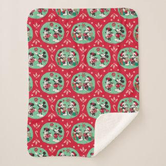 Vintage Mickey & Minnie | Cozy Christmas Pattern Sherpa Blanket