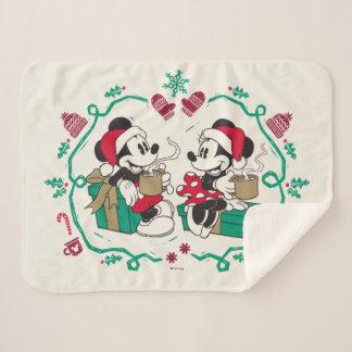 Vintage Mickey & Minnie | Cozy Christmas Sherpa Blanket