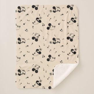 Vintage Mickey & Minnie Music Pattern Sherpa Blanket