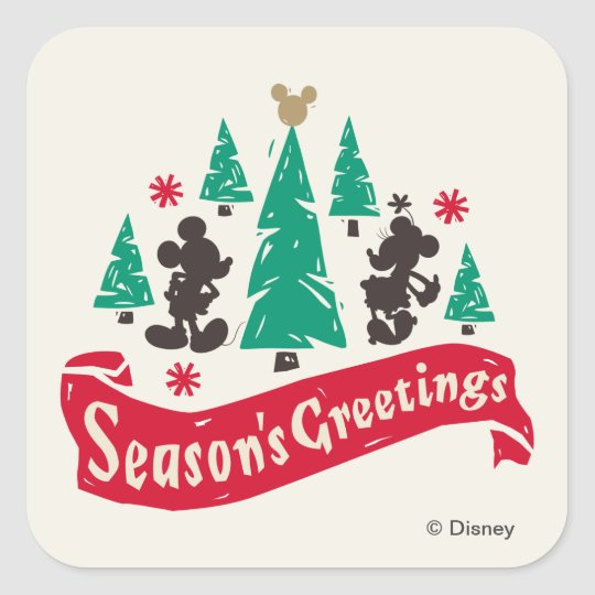 Vintage Mickey & Minnie | Season's Greetings Square Sticker