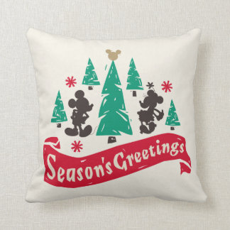 Vintage Mickey & Minnie | Season's Greetings Throw Pillow