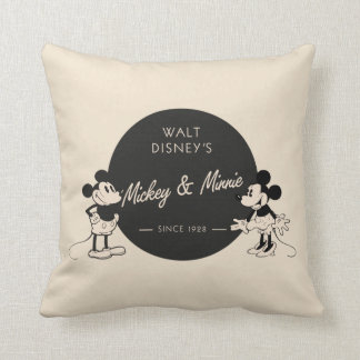 Vintage Mickey & Minnie Throw Pillow
