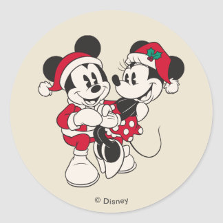 Vintage Mickey & Minnie | Warm & Cozy Classic Round Sticker