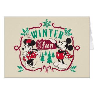 Vintage Mickey & Minnie | Winter Fun Card