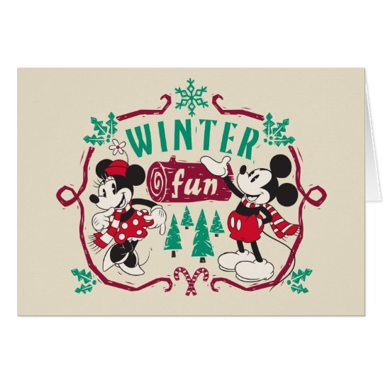 Vintage Mickey & Minnie | Winter Fun Card