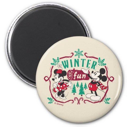 Vintage Mickey & Minnie | Winter Fun Magnet