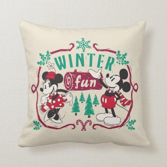 Vintage Mickey & Minnie | Winter Fun Throw Pillow