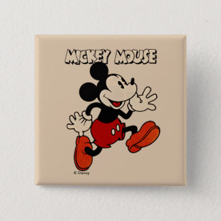 Vintage Mickey Mouse 2 Inch Square Button