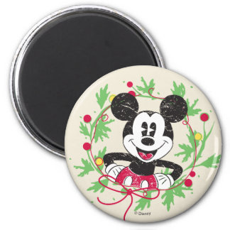 Vintage Mickey Mouse | Christmas Wreath Magnet