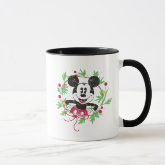 Vintage Mickey Mouse | Christmas Wreath Mug