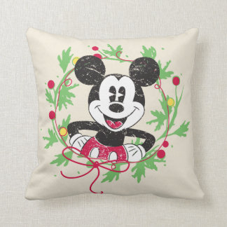 Vintage Mickey Mouse | Christmas Wreath Throw Pillow