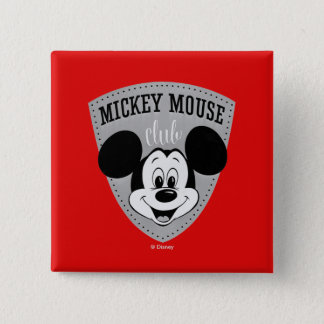 Vintage Mickey Mouse Club 2 Inch Square Button