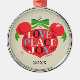 Vintage Mickey Mouse | Love, Peace & Joy Metal Ornament