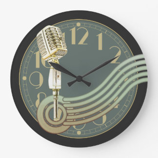 Vintage Microphone Large Clock
