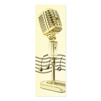 Vintage Microphone Mini Profile Card Pack Of Skinny Business Cards