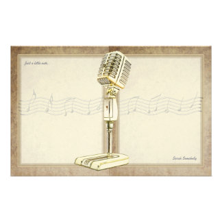 Vintage Microphone Notepaper Custom Stationery