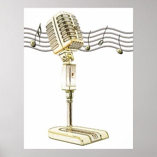 Vintage Microphone Poster Print