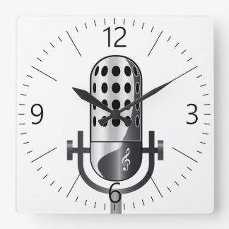 Vintage microphone square wall clock