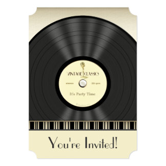 Vintage Microphone Vinyl Record Party Invitations