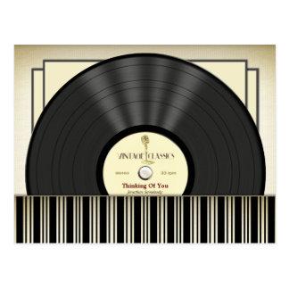 Vintage Microphone Vinyl Record Personalized Postcard