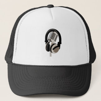 Vintage Microphone with Headphones Trucker Hat