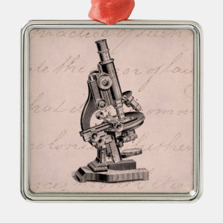 Vintage Microscope Illustration Pink Steampunk Metal Ornament