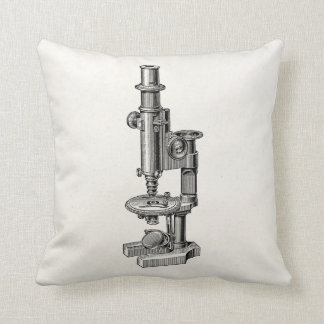 Vintage Microscopes Old Antique Science Microscope Throw Pillow