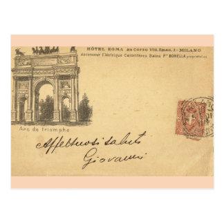 Vintage Milan, Hotel Roma 1901 Postcard