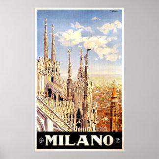 Vintage Milano Italy Travel Poster