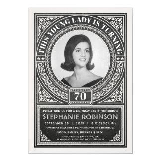 Vintage Milestone Birthday Invitations Your Photo