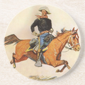 Vintage Military, A Cavalry Officer by Remington Beverage Coaster