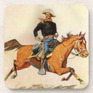 Vintage Military, A Cavalry Officer by Remington Drink Coasters