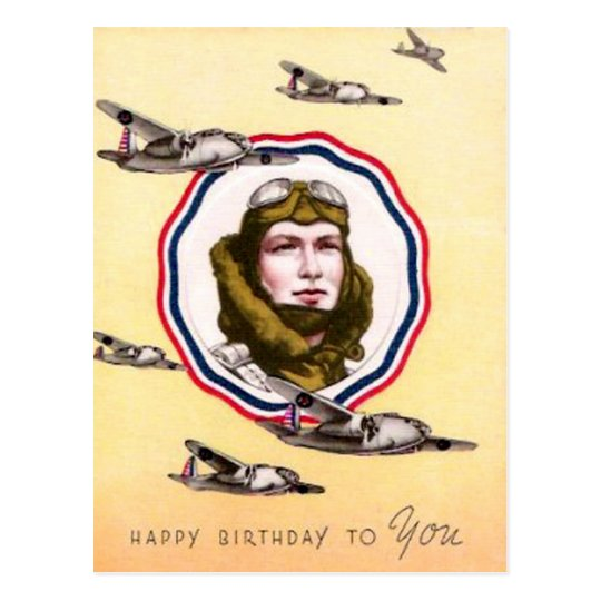 Vintage Military Air Force Birthday Postcard
