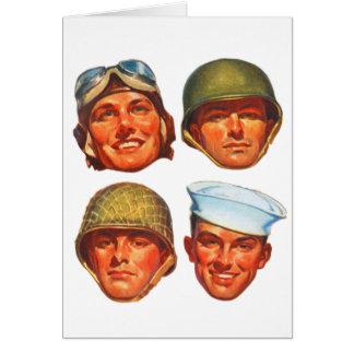 Vintage Military Army Navy Marines Airforce Men Greeting Cards