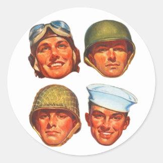 Vintage Military Army Navy Marines Airforce Men Round Sticker