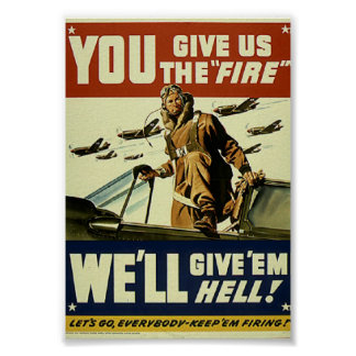 Vintage Military Give'em Hell Poster